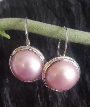 Pink Mabe Pearl Earrings