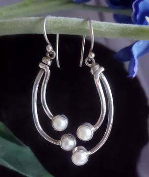 Long stem pearl earrings - sterling silver