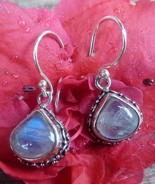 Silver moonstone earrings with filigree detail