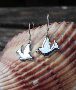 Sterling silver dove earrings