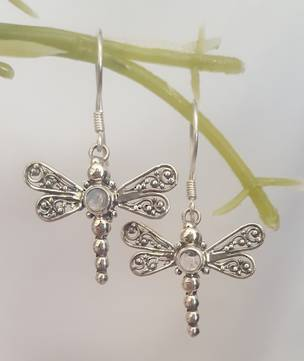 Silver moonstone dragonfly earrings - last pair
