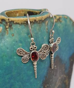 Silver dragonfly earrings with garnet