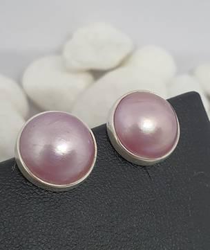 Sterling silver pink pearl stud earrings