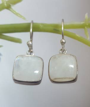 Square moonstone earrings - price reduced as one stone has a flaw