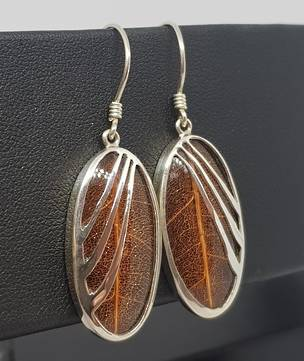 Brown skeleton leaf silver earrings