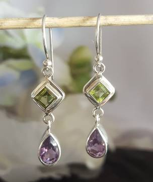 Silver amethyst and topaz earrings