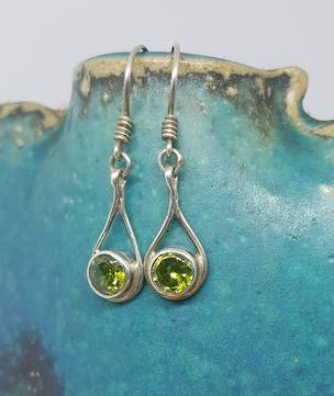 Sterling silver peridot earrings