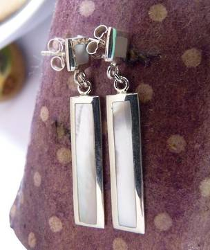 Silver mother of pearl stud earrings