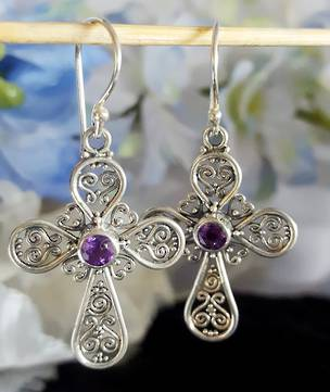 Silver Amethyst Earrings | Filigree silver crosses