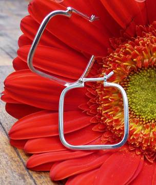 Sterling silver square funky hoops