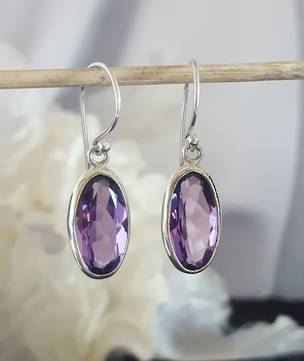 Briolette cut purple silver earrings