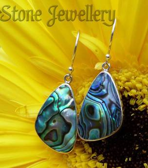 Sterling silver paua shell earrings - hook style