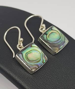 Sterling silver square NZ paua shell earrings