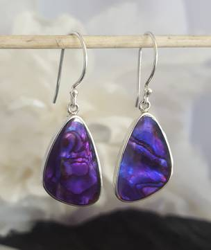 Glowing purple earrings, dyed paua shell