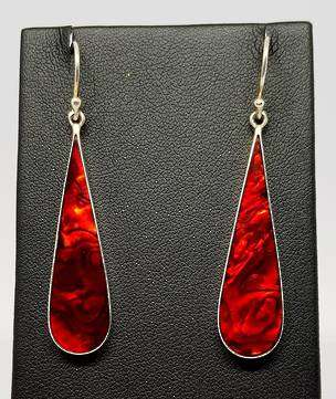 Elongated oval red earrings, sterling silver gorgeous shine