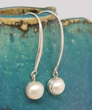 Fresh water pearl earrings, long drop, elegance +