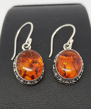 925 Sterling silver amber earrings with filigree detail