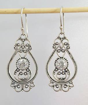 Filigree cubic zirconia earrings - free delivery in NZ