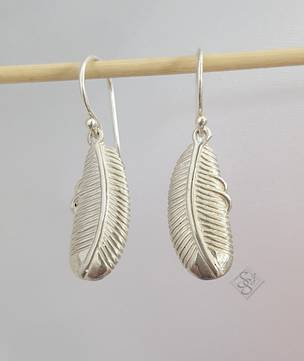 Silver feathered leaf earrings