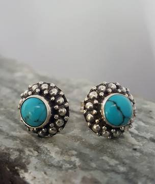Small silver turquoise stud earrings
