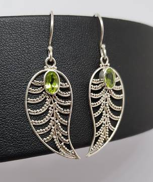 Silver lace leaf earrings with peridot - last pair