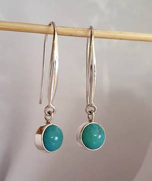 Long hook silver turquoise earrings