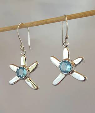 Silver blue topaz starfish earrings