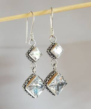 Glamour plus, long two stone cubic zirconia earrings