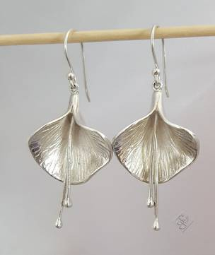 Silver flower earrings, orchid like beauty
