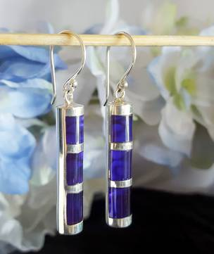 Sterling silver purple paua earrings
