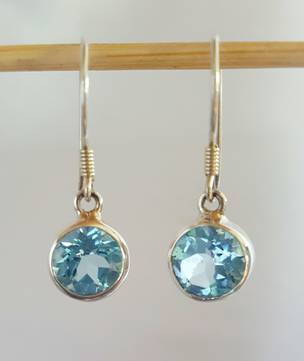 Beautiful round blue topaz silver earrings - free courier in NZ