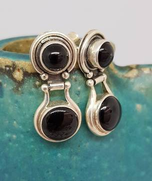Double gemstone, black onyx silver earrings