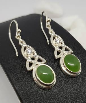 NZ oval greenstone (pounamu) silver earrings