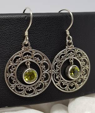 Silver lace hoop earrings with green peridot