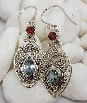 Sterling silver filigree blue topaz and garnet earrings