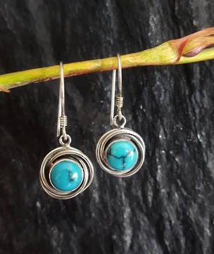 Sterling silver turquoise earrings, hook style
