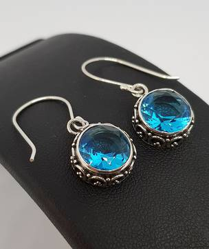 Dazzling blue topaz silver hook earrings