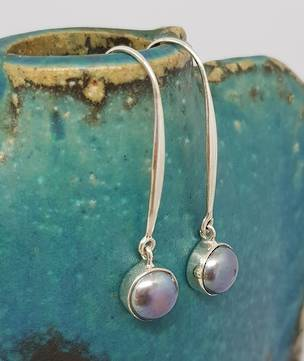 Elegant long stem grey pearl earrings, sterling silver