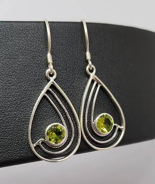 Silver peridot earrings, open teardrop sahpe