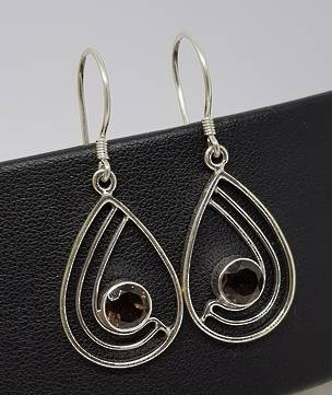 Open teardrop shape smoky quartz silver earrings