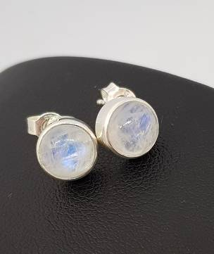 Silver moonstone stud earrings