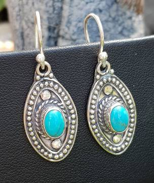 Sterling silver hook turquoise earrings