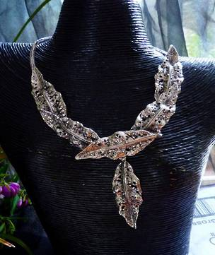Sterling silver rustic leaf necklace - one off, outstanding design