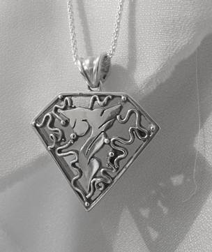 Large carved silver triangle pendant necklace