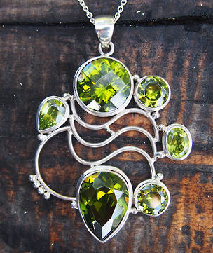 Large green peridot pendant