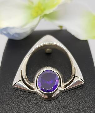 Sterling silver amethyst pendant - open triangle design