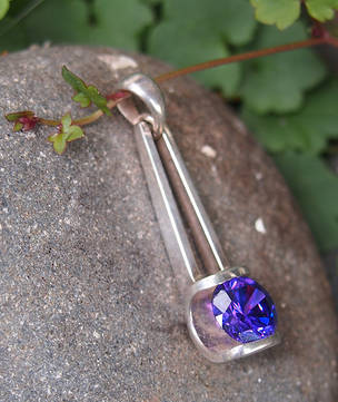 Sterling silver purple pendant - last one in stock