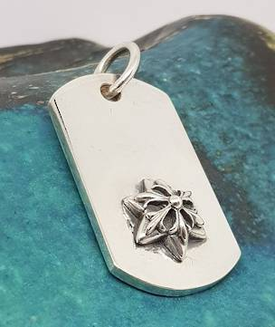 Silver dog tag style pendant