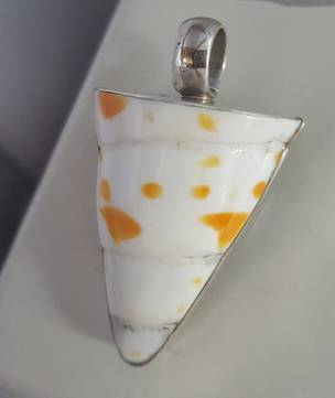 Silver white and orange shell pendant