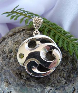 Made in NZ silver koru inspired pendant
